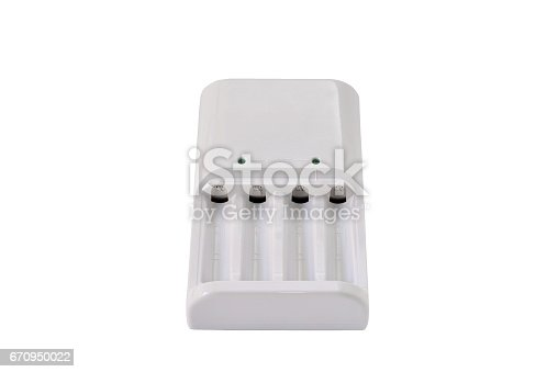 istock Battery charger on white background with clipping path 670950022