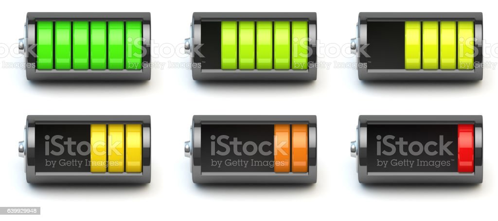 Battery charging. Battery charge level indicators isolated on wh bildbanksfoto