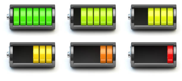 Battery charging. Battery charge level indicators isolated on wh - Photo