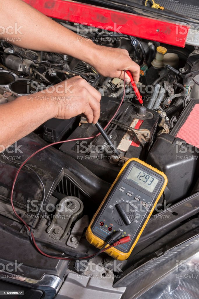 Battery Check stock photo