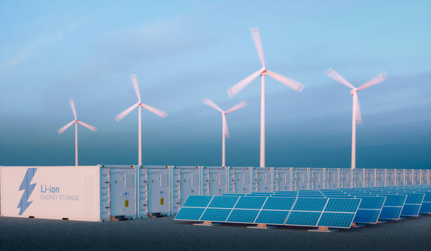 Battery energy storage concept in nice morning light. stock photo