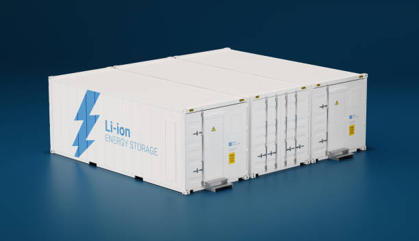 Battery energy storage facility made of shipping containers. 3d rendering. stock photo