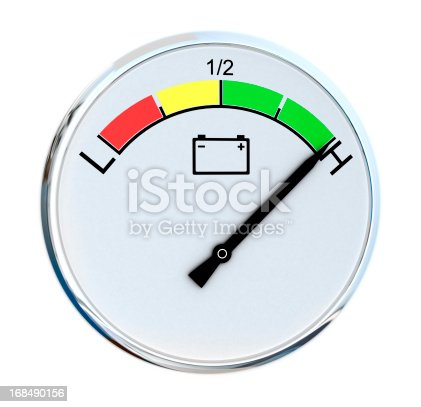 Closeup of a car battery gauge isolated on white background
