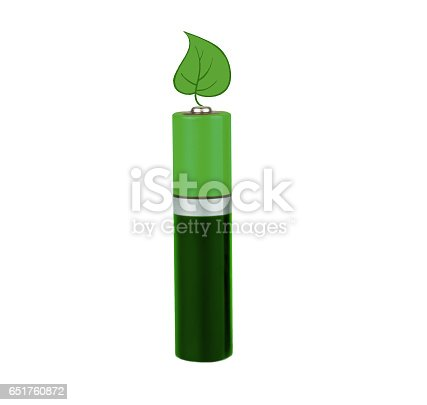 istock Battery green color, with green leaves on white background, isolated 651760872