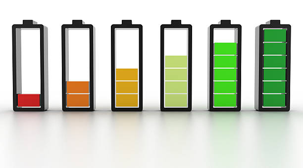 Battery icons of battery levels stock photo