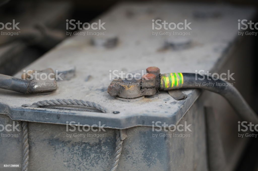 Battery in the bus stock photo