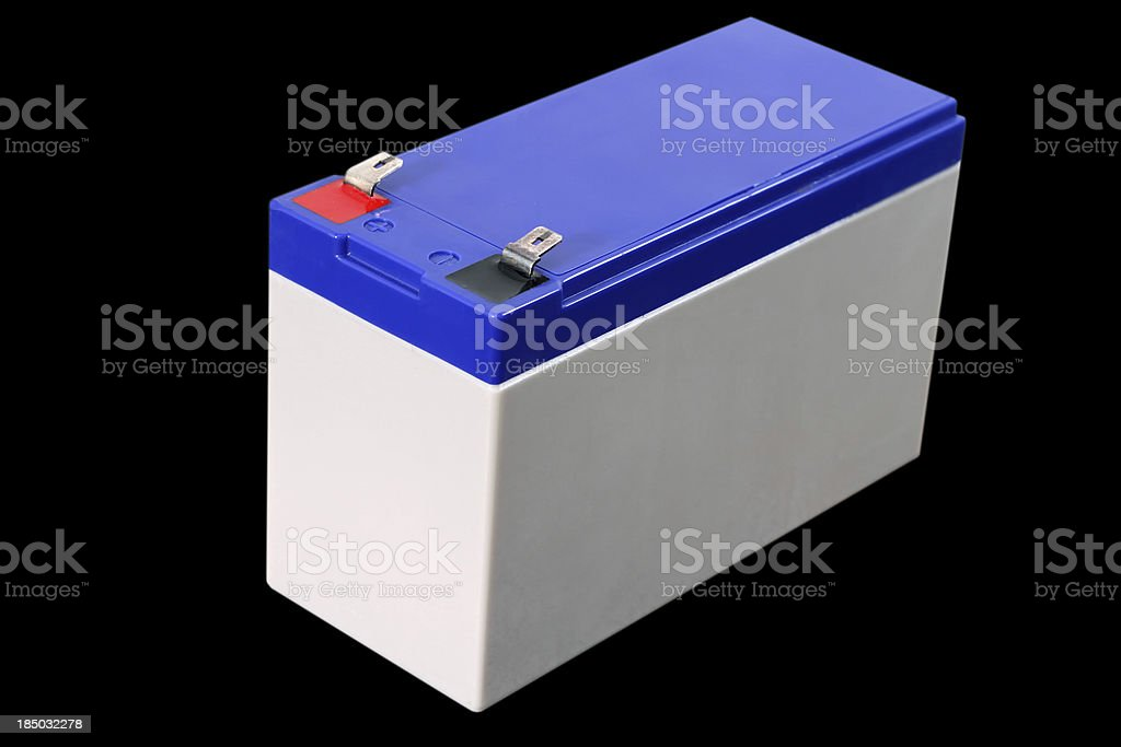 battery isolated on black background royalty-free stock photo