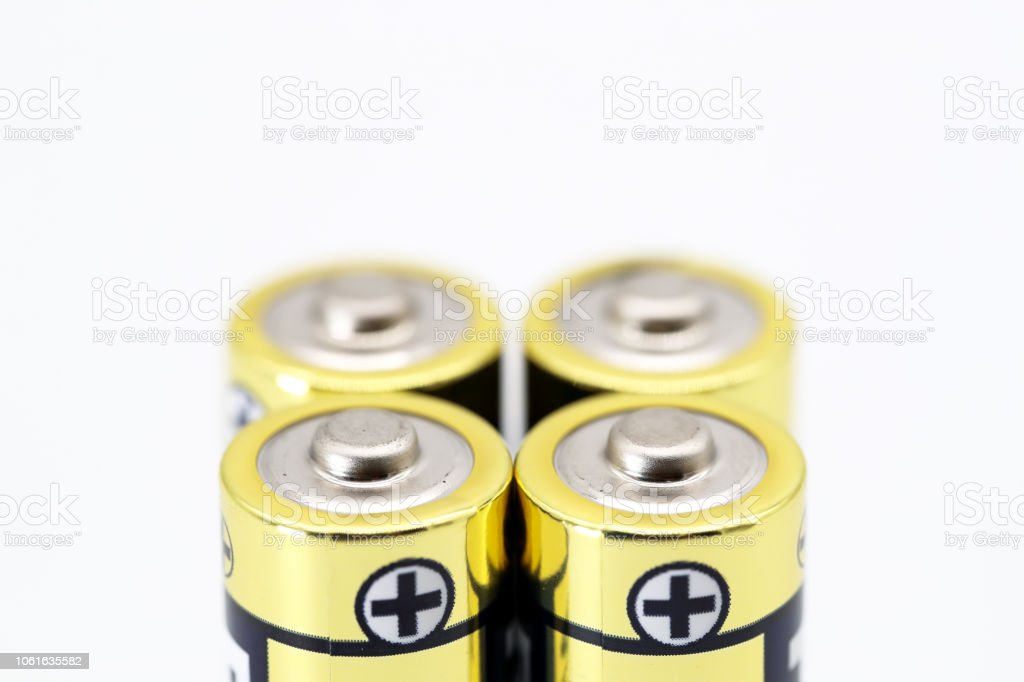AA battery isolated on white background stock photo