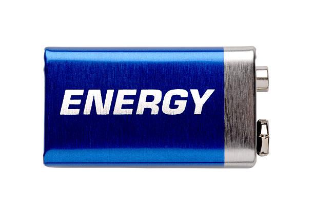 9V battery isolated on white background stock photo
