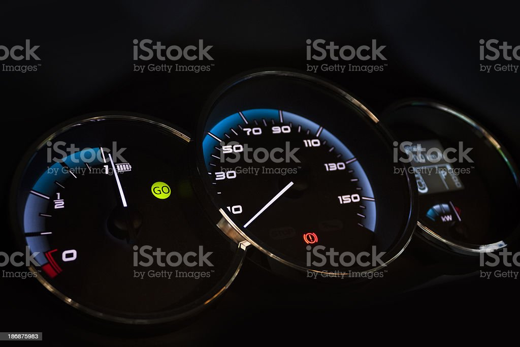Battery meter and speedometer in electric car royalty-free stock photo