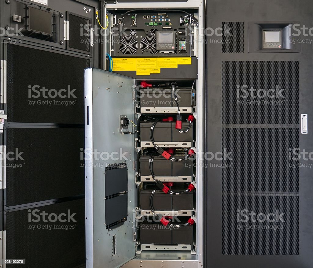 Battery of large uninterruptible Power Supply (UPS) stock photo