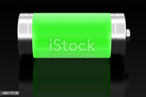 istock Battery on black 490175126