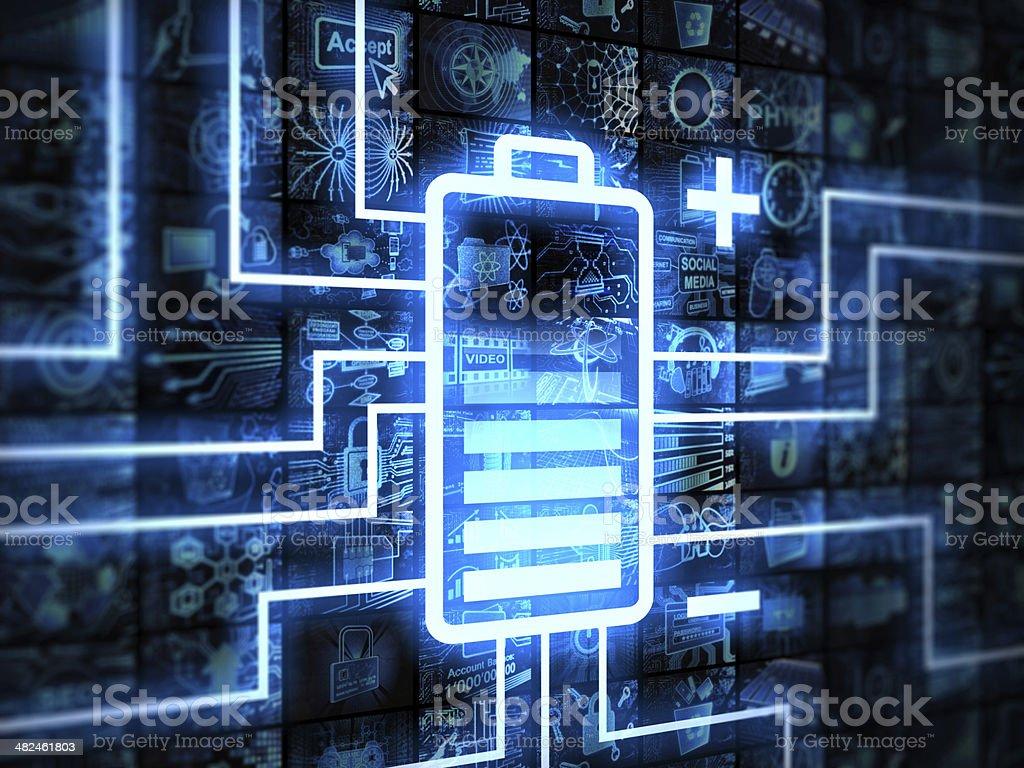 Battery on videowall screen stock photo