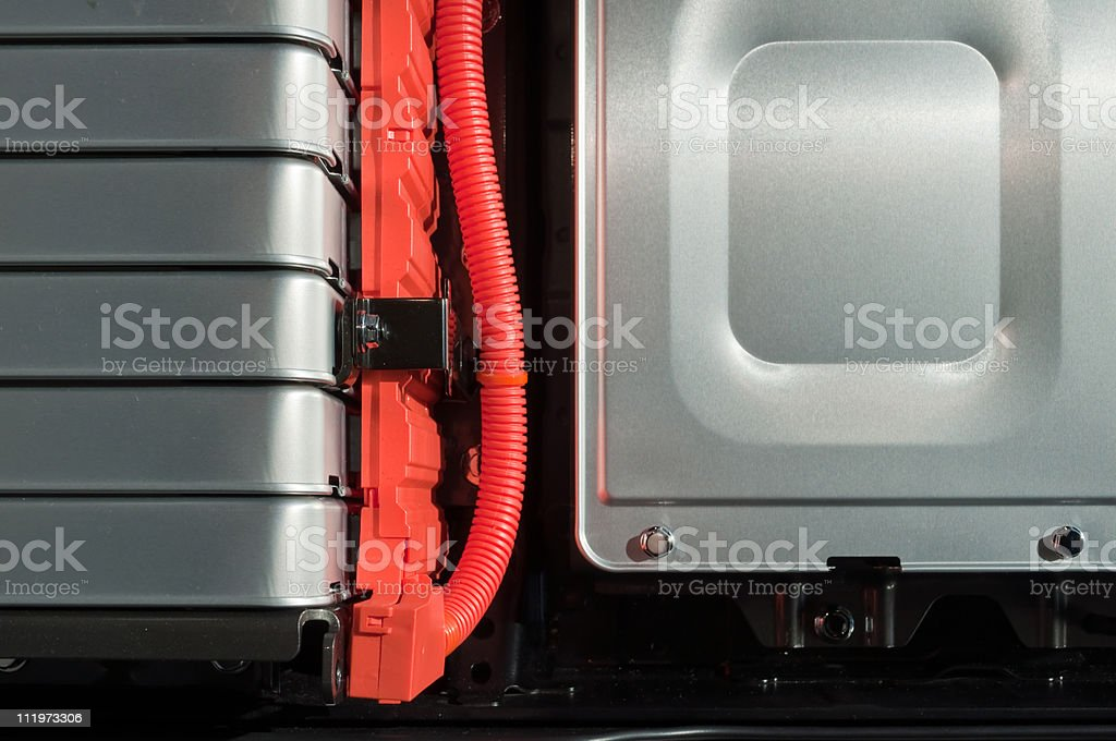 Battery packs of an electric car stock photo