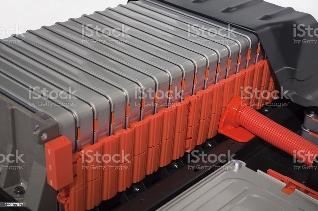 Battery packs of an electric car bildbanksfoto