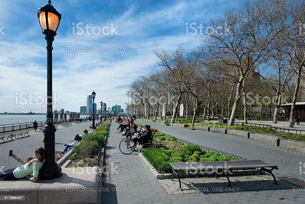 Battery park in springtime,New York. stock photo