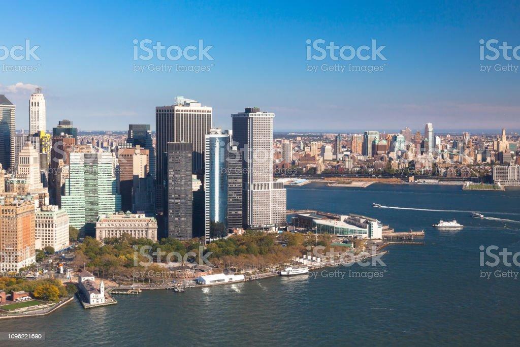 Hudson Bay New York.Battery Park On Background Hudson Bay Downtown New York Nyc