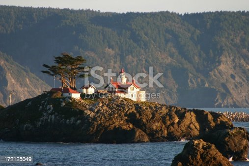 An evening shot of historic Battery Point lighthouse located in Crescent City, California.