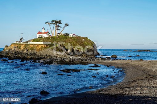 Battery Point Lighthouse in Crescent City, California, USA, during a low tide, in the early morning