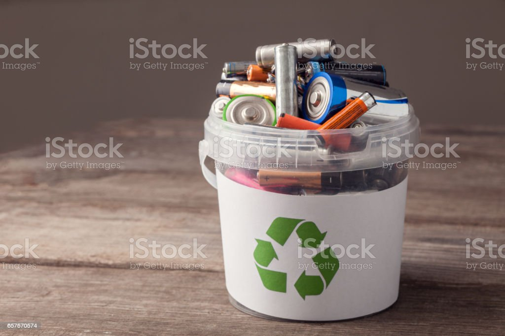 battery recycle bin stock photo