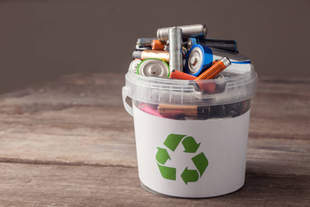 battery recycle bin stock photo