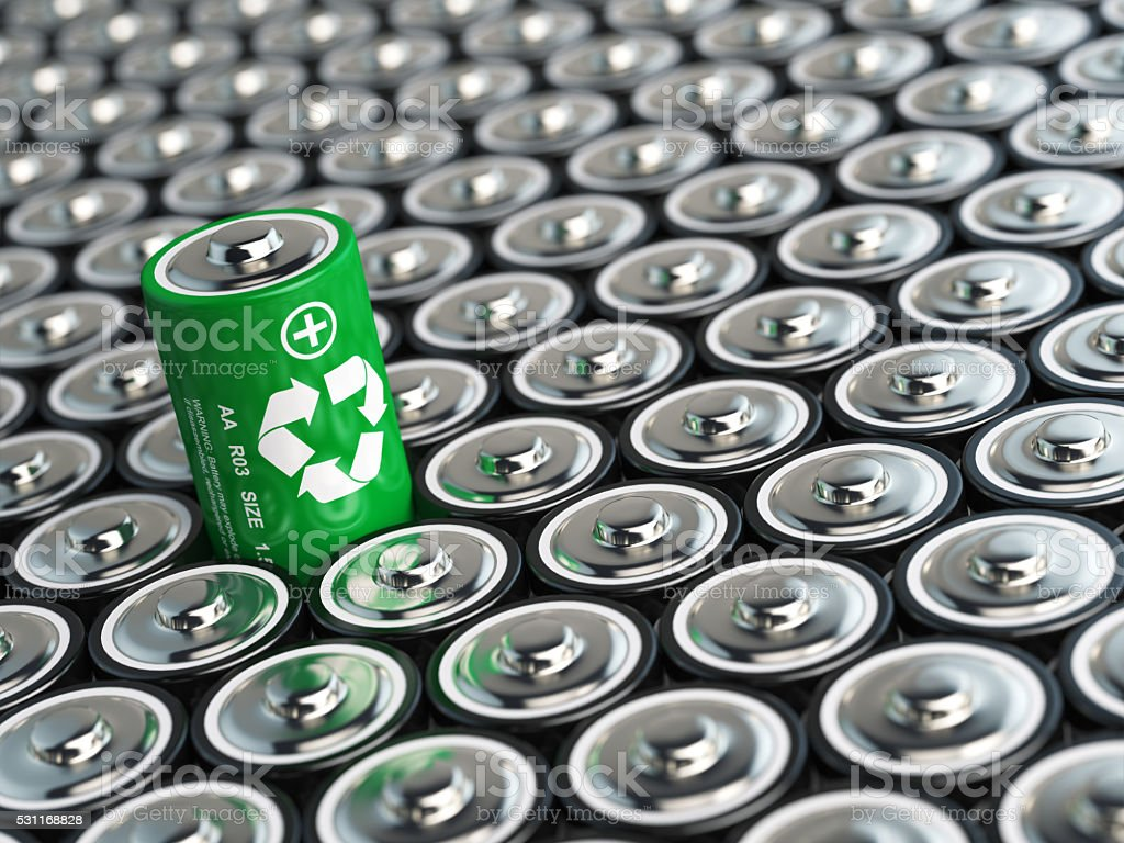 Battery recycling concept. Green energy, Background from battari bildbanksfoto