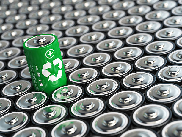 Battery recycling concept. Green energy, Background from battari stock photo