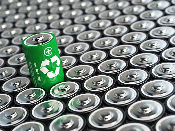 Batterie-recycling Konzept. Grüne Energie Hintergrund von battari – Foto