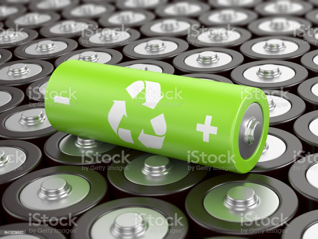 Battery recycling stock photo