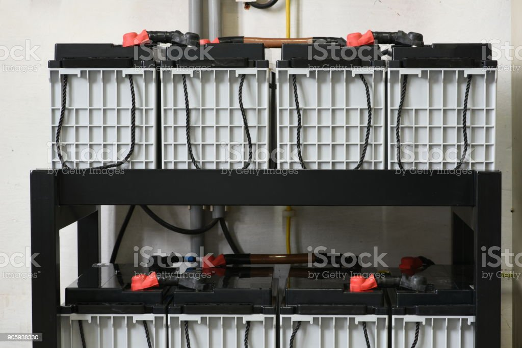 Battery storage for power backup stock photo