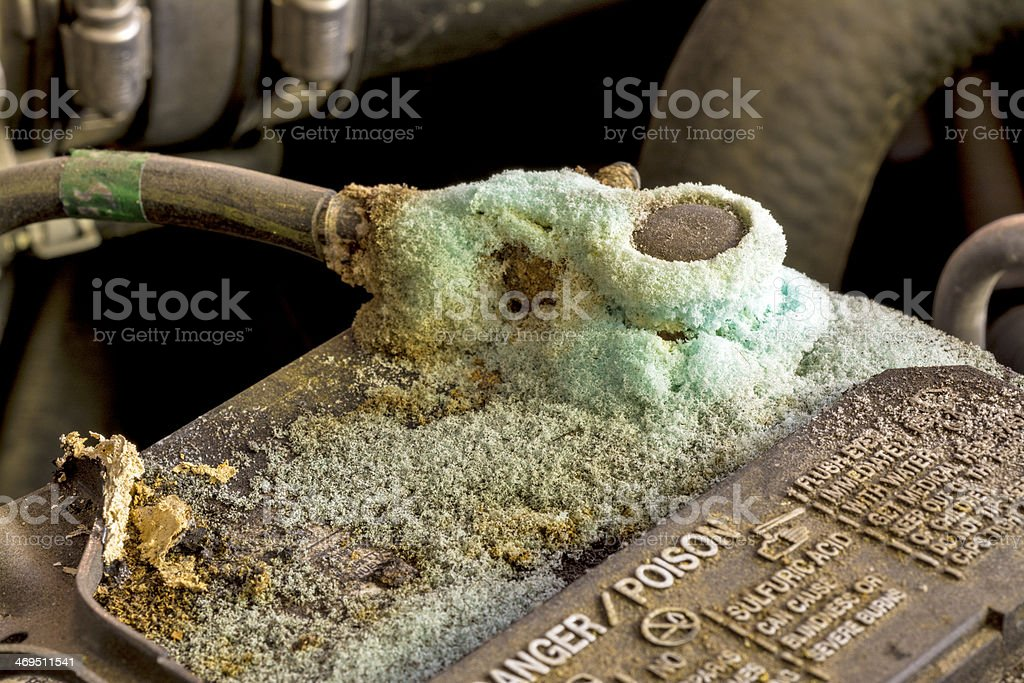 Battery terminal with corrosion on it stock photo