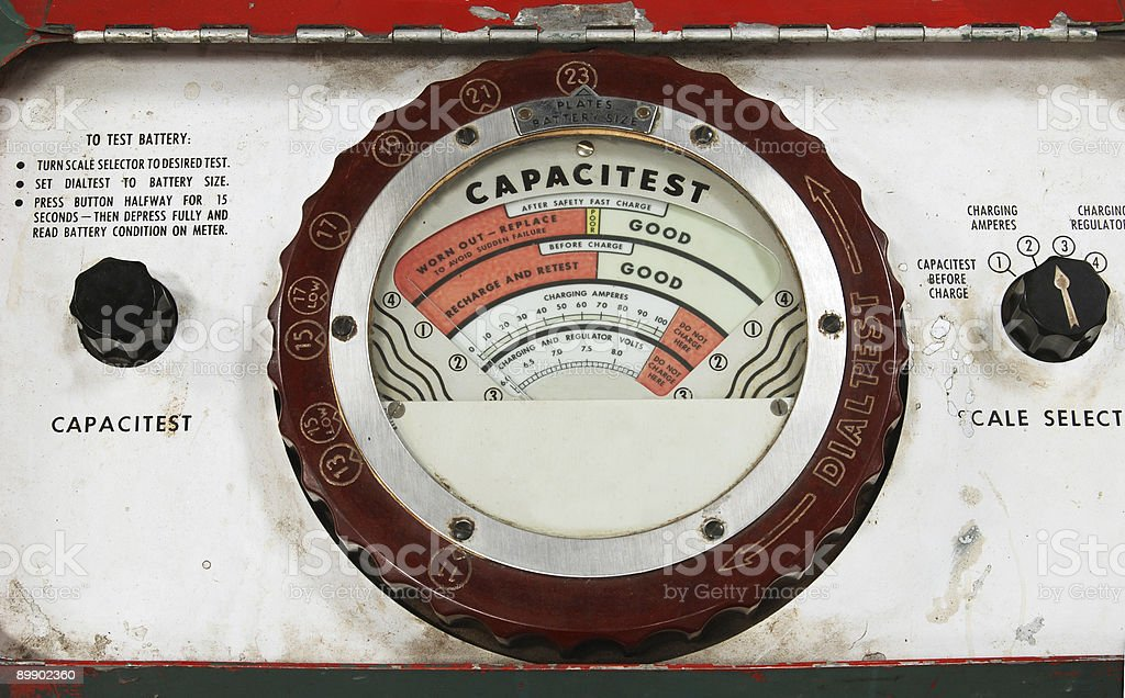 Battery test meter royalty-free stock photo