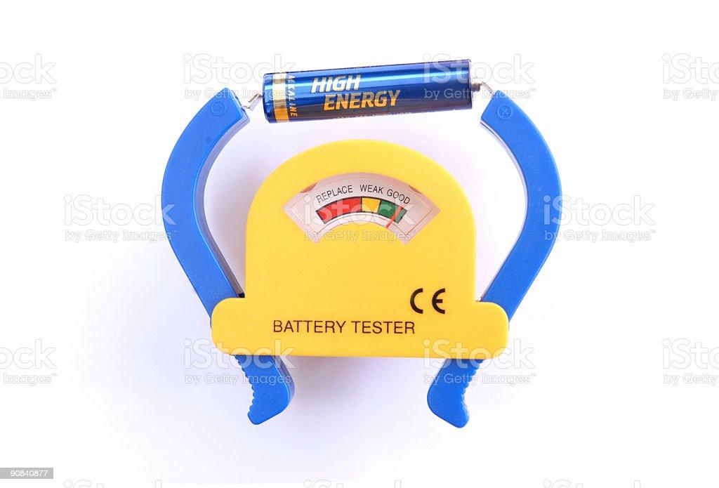 Battery tester stock photo