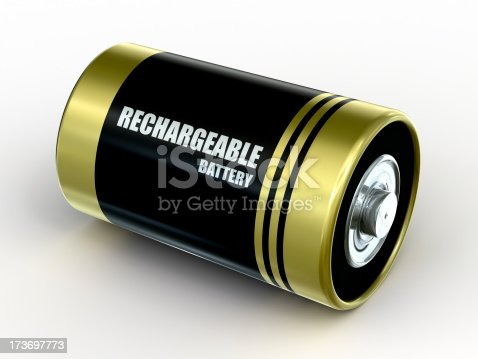 Rechargeable type D battery with Clipping Path