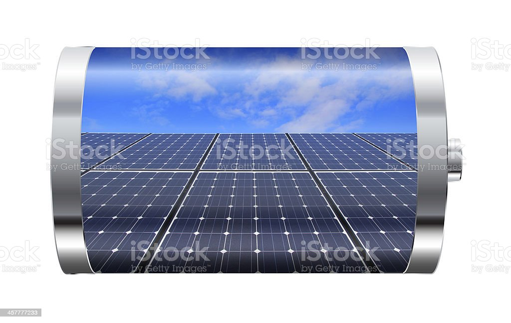 A battery with image of a solar panel - Royalty-free Backgrounds Stock Photo