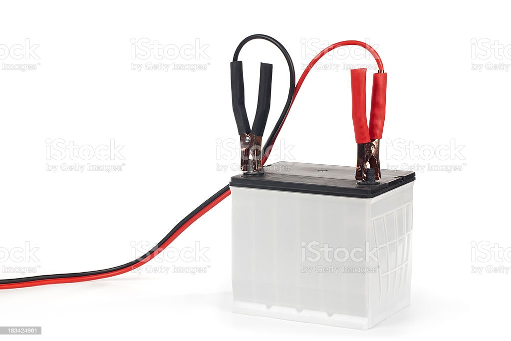 Battery with Jumper Cables stock photo