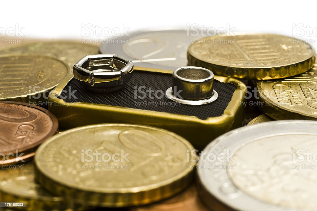 Battery with money around royalty-free stock photo