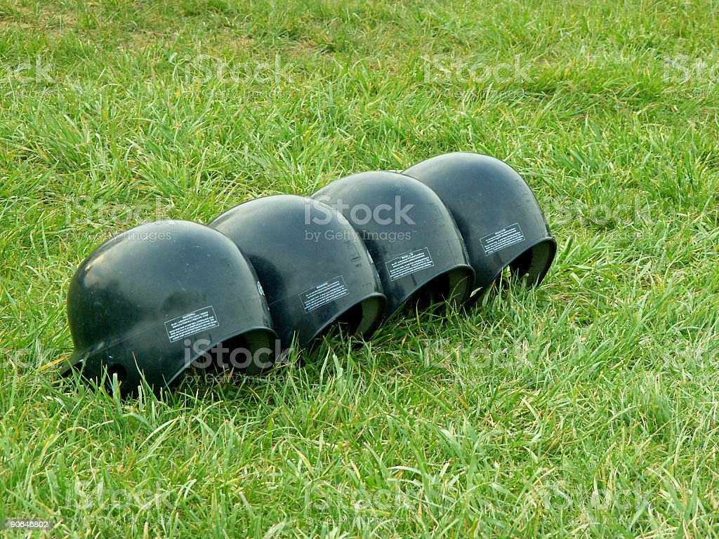 batting helmets stock photo