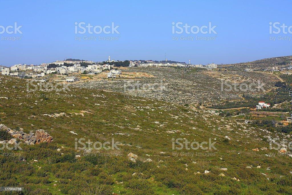 Battir on hill above Wadi el-Jundi royalty-free stock photo