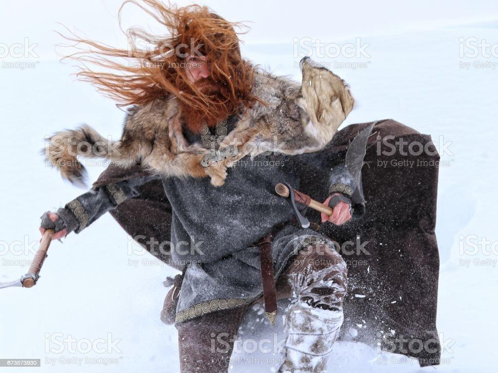 Battle Attack Medieval Winter Snow Viking Warrior, Animal Pelt stock photo