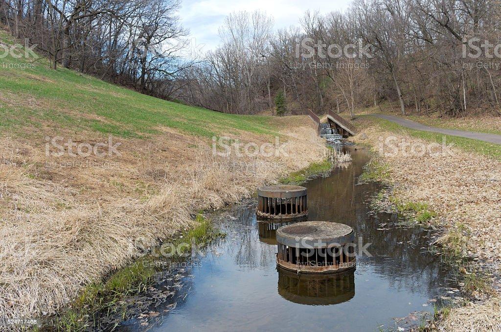 Battle Creek Dam Trail and Hills stock photo