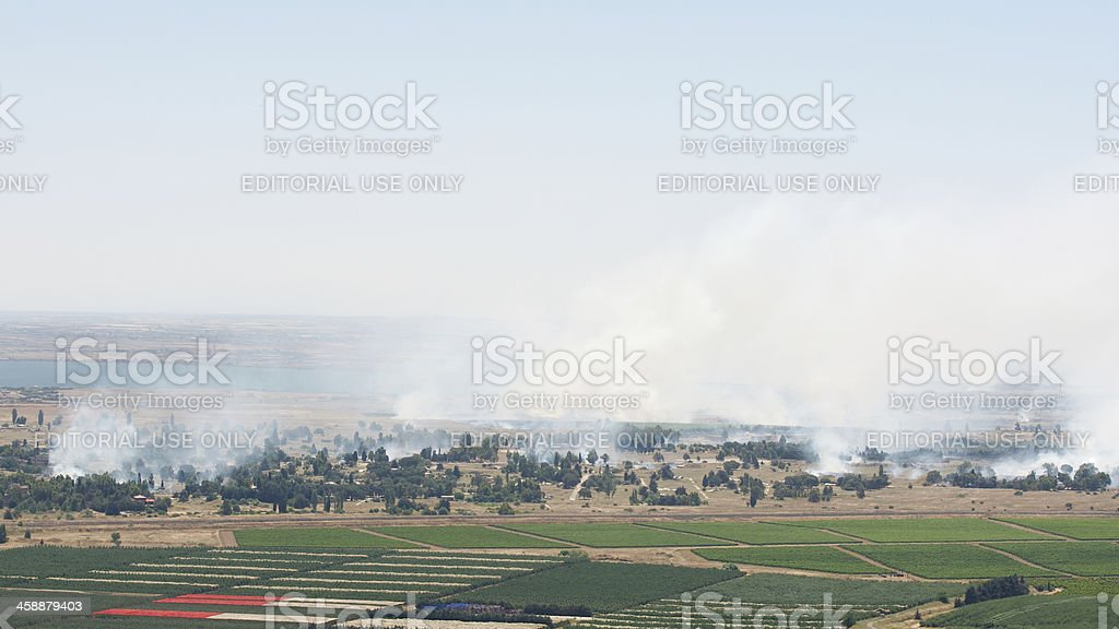 Battle in Syrian city Quneitra near Israeli border stock photo