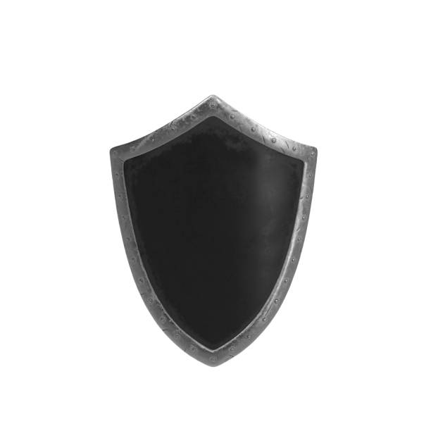 Battle metal shield on white background Battle metal shield on white background. Isolated 3D illustration shielding stock pictures, royalty-free photos & images