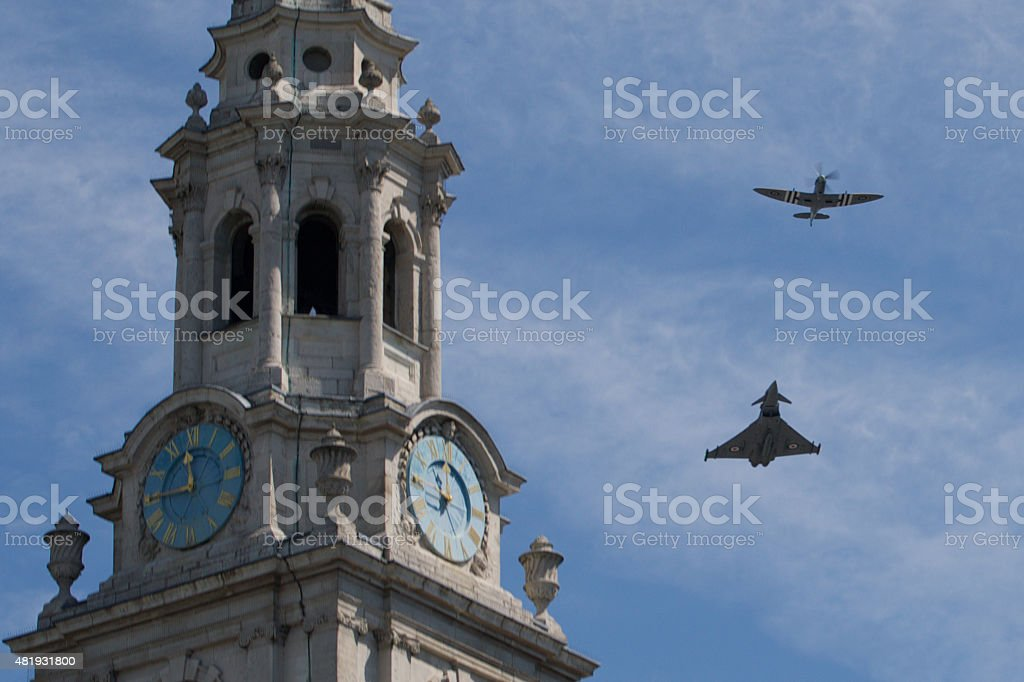 Battle of Britain Flight over London 10th July 2015 stock photo