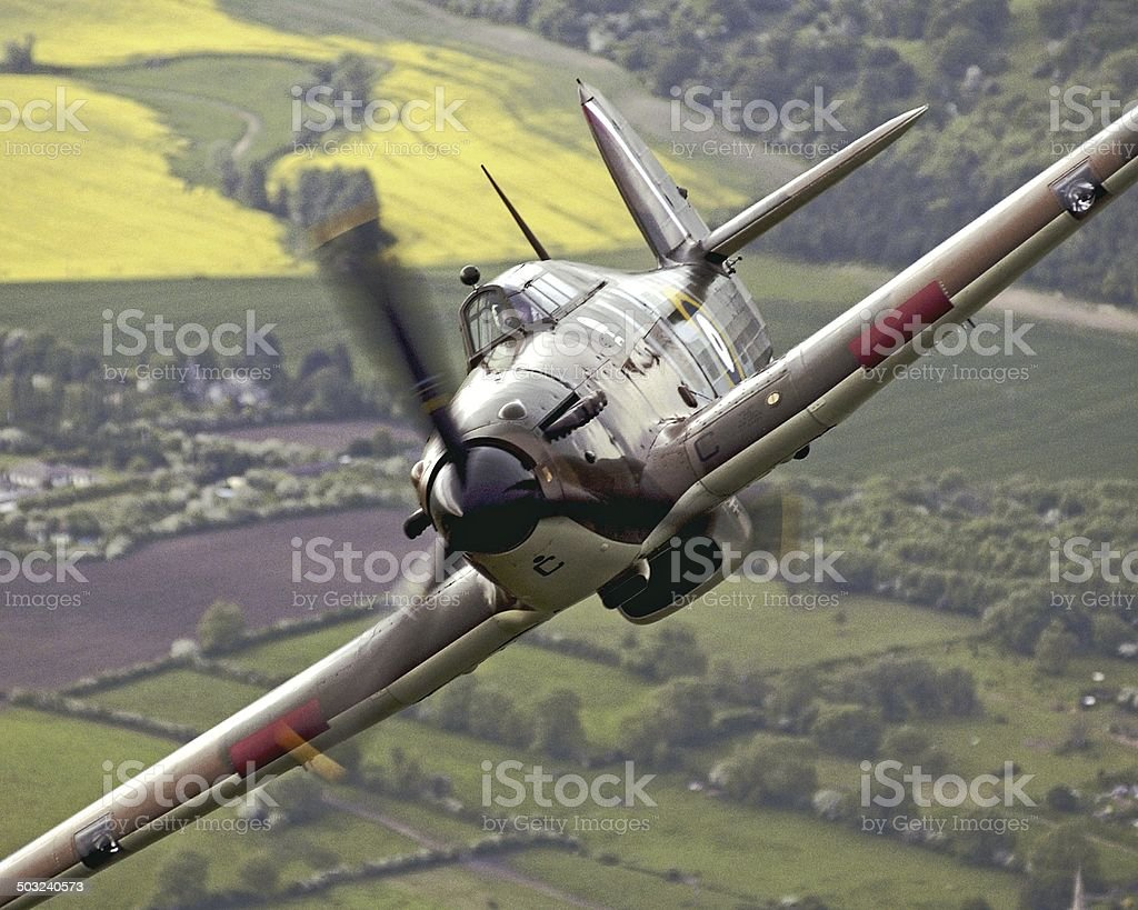 RAF Battle of Britain Memorial Flight Hurricane, aerial photograph stock photo