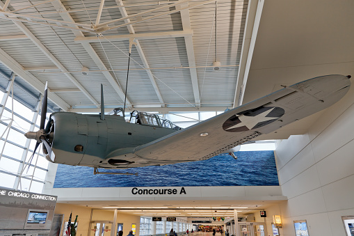 Battle of Midway Memorial Bomber Airplane in Chicago Airport