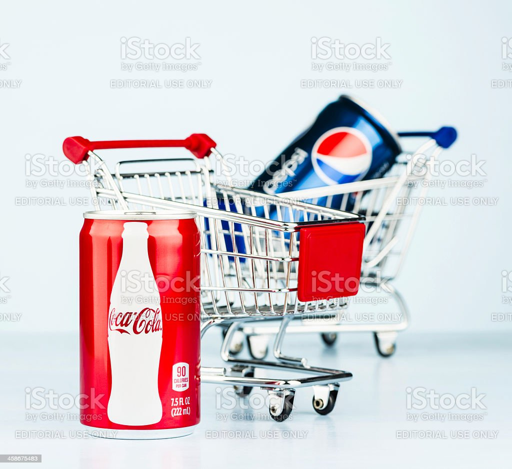 Battle of the Brands: Coke vs Pepsi royalty-free stock photo
