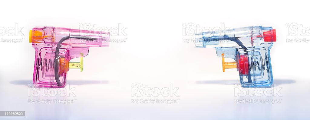 Battle of the sexes: duelling pistols 1 royalty-free stock photo