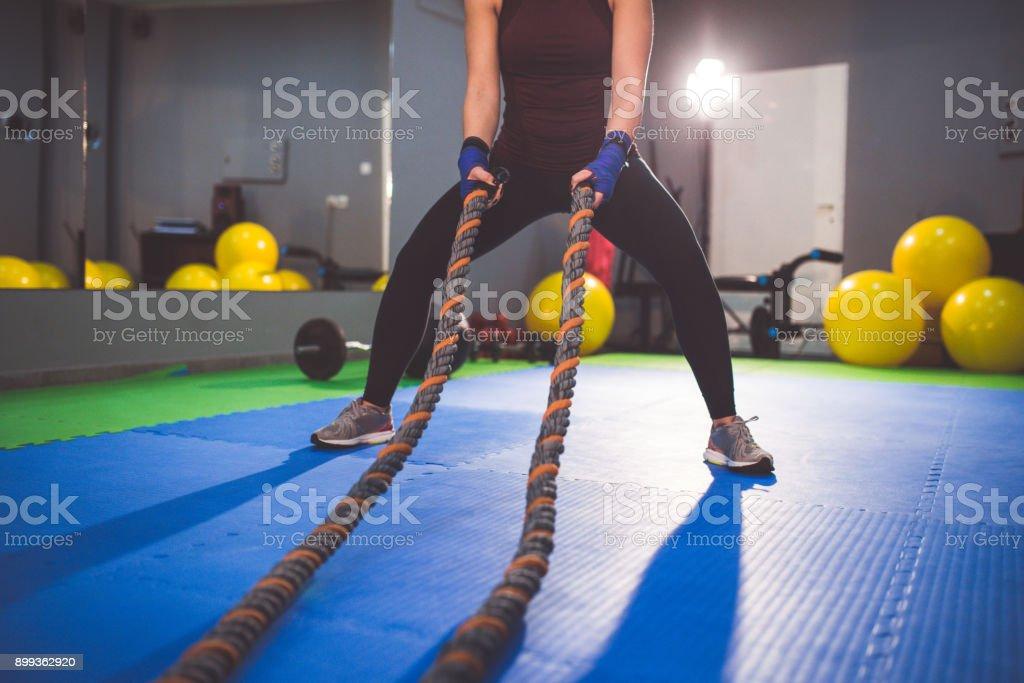 Battle Rope Exercise stock photo