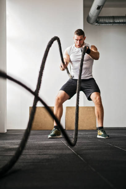 Battle Rope strength training stock photo